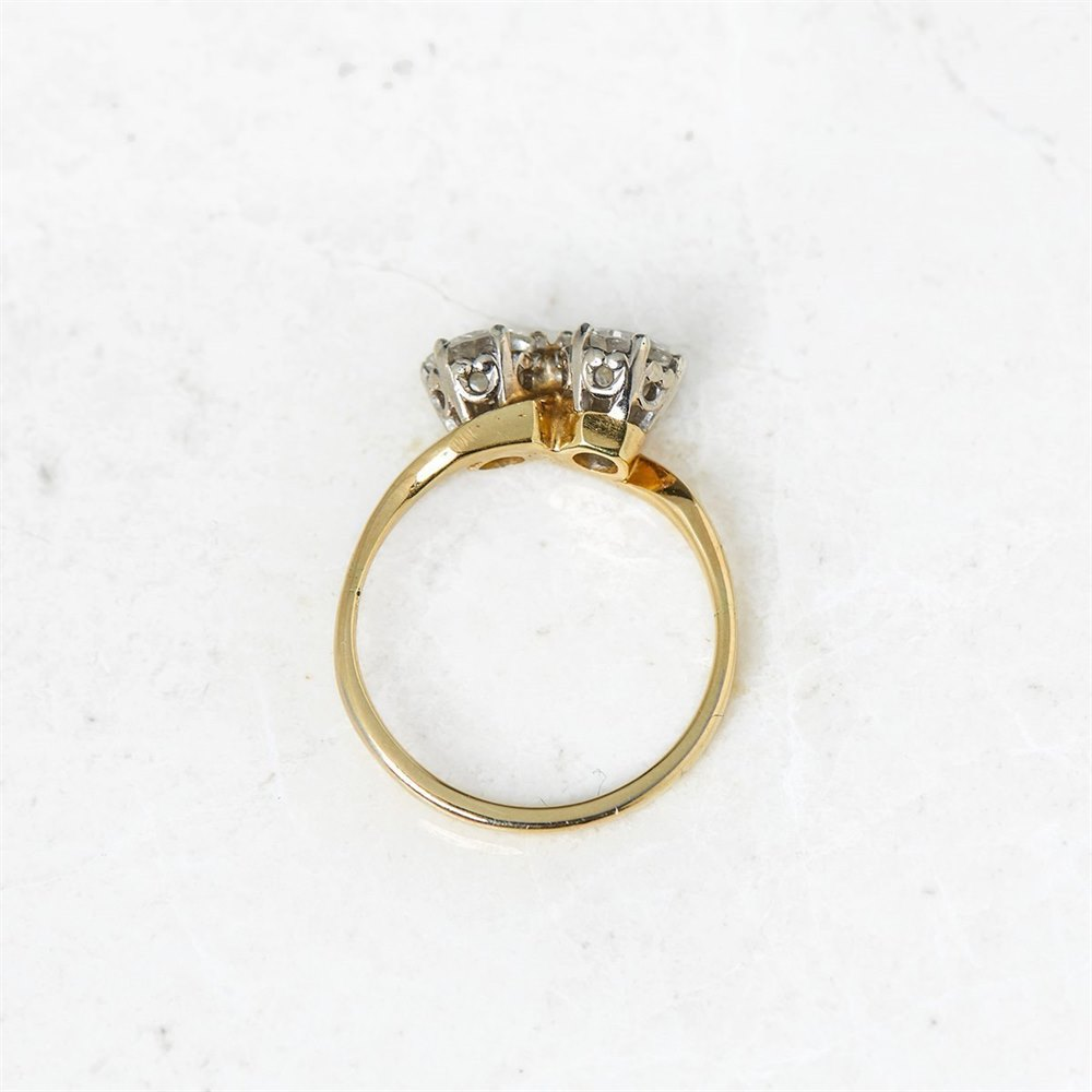 Diamond 18k Yellow & White Gold Round Brilliant Cut 1.20ct Diamond 2 Stone Ring