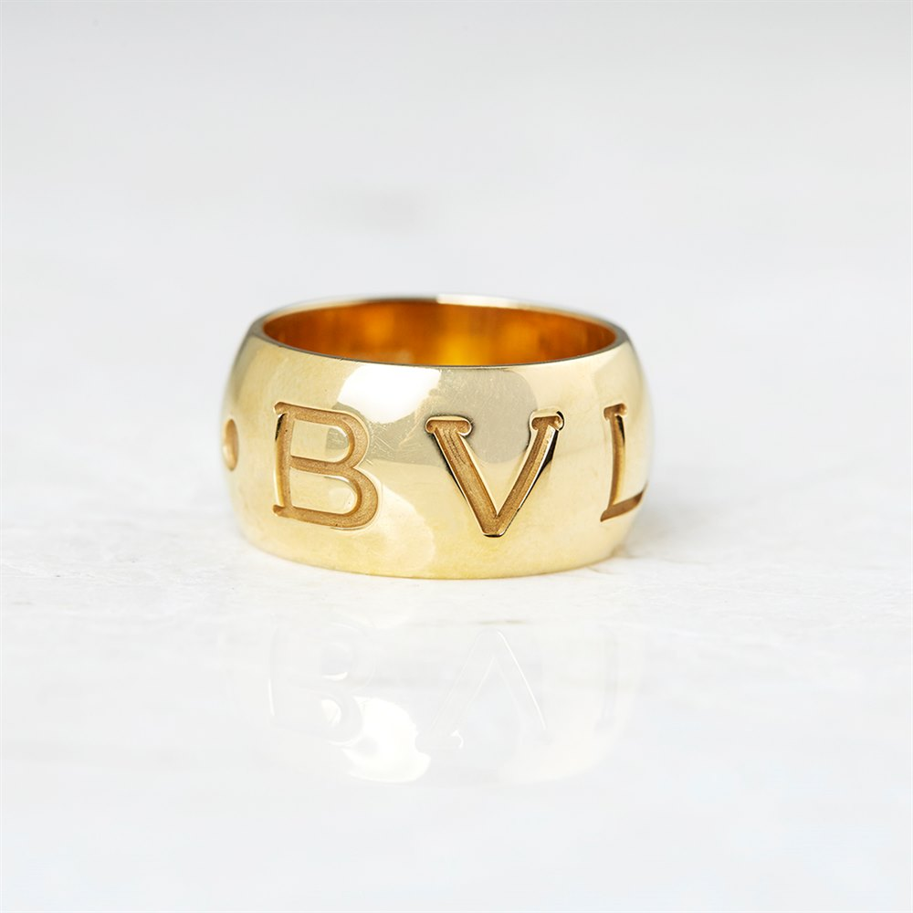 Bulgari 18k Yellow Gold Monologo Band Ring