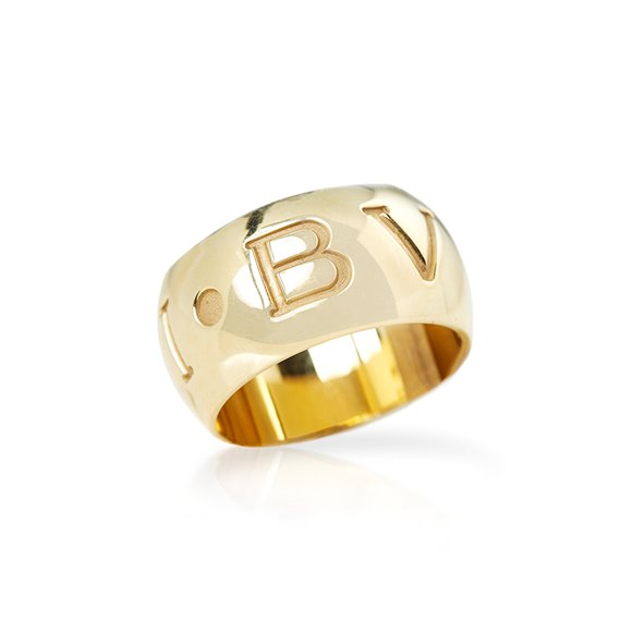 Bulgari 18k Yellow Gold Monologo Ring