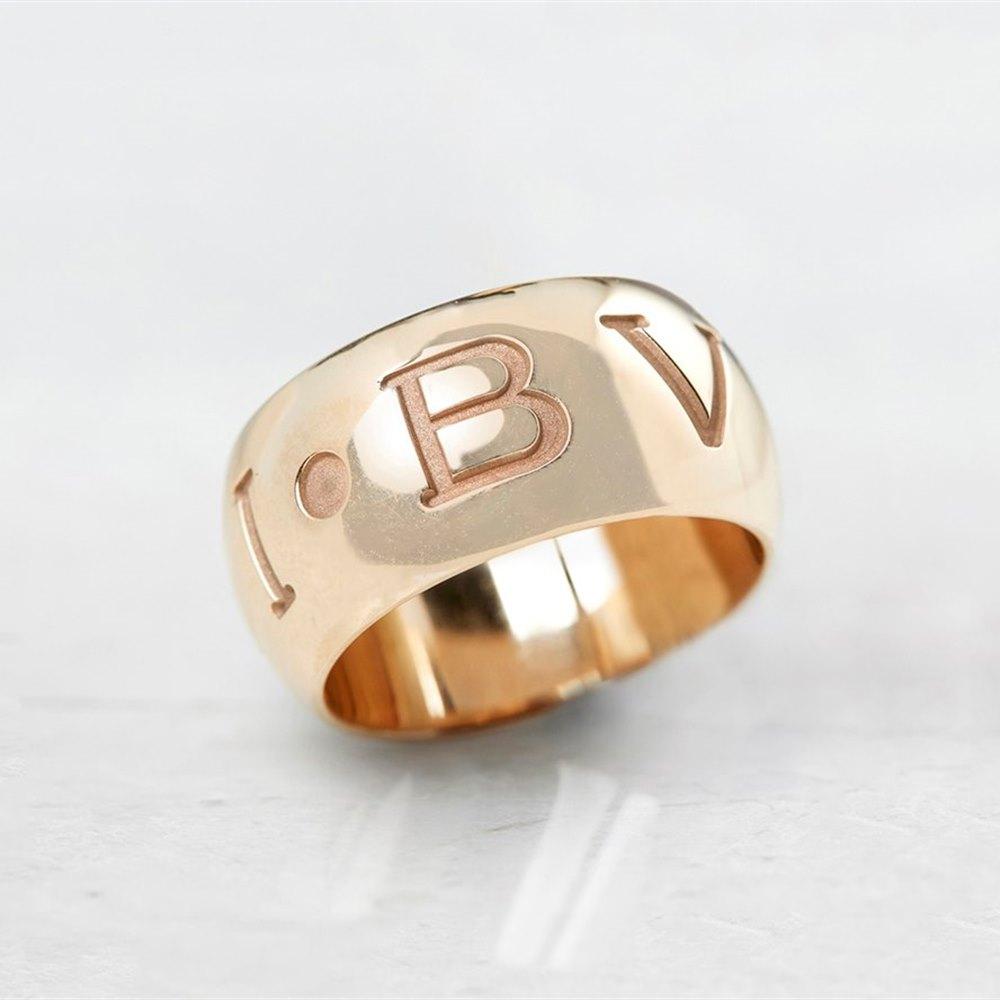 Bulgari 18k Rose Gold Monologo Ring