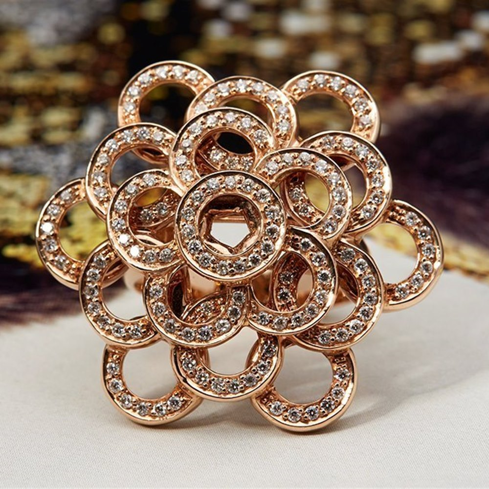 Carla Amorim 18K Rose Gold 0.73cts Pave Diamond Ring Size L