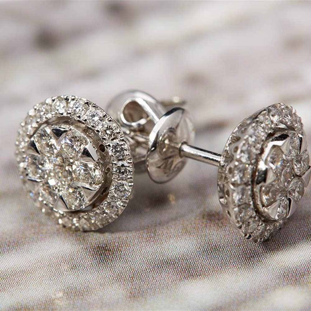 Mappin & Webb 18K White Gold 1.08cts Diamond Cluster Earrings