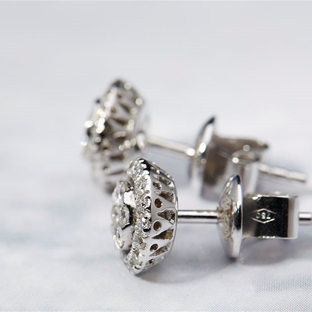 Mappin & Webb 18k White Gold 0.51ct Diamond Cluster Stud Earrings