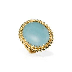 Carla Amorim 18k Yellow Gold Cabochon Aquamarine Cocktail Ring
