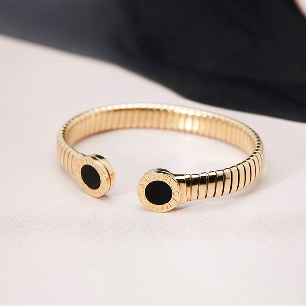 Bvlgari 18K Yellow Gold Tubogas Bangle with Black Onyx