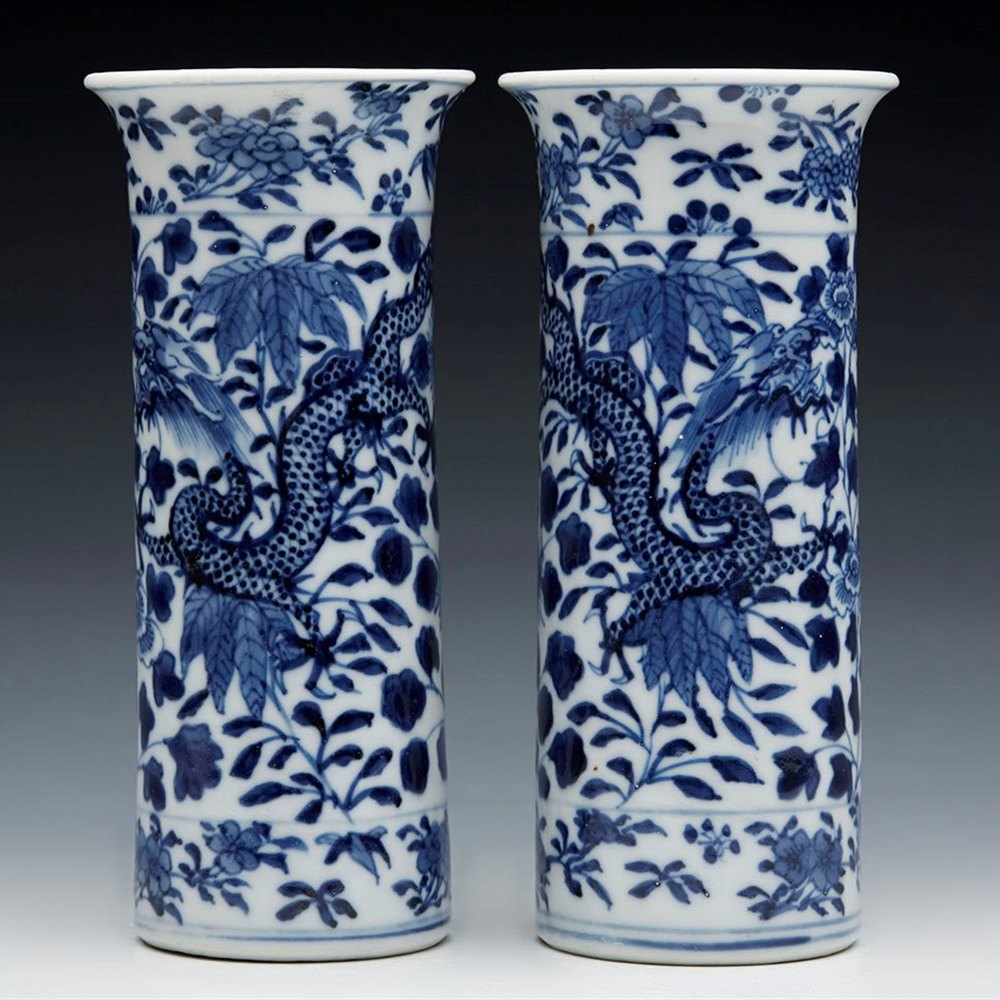 Fine Pair Antique Chinese Kangxi Blue