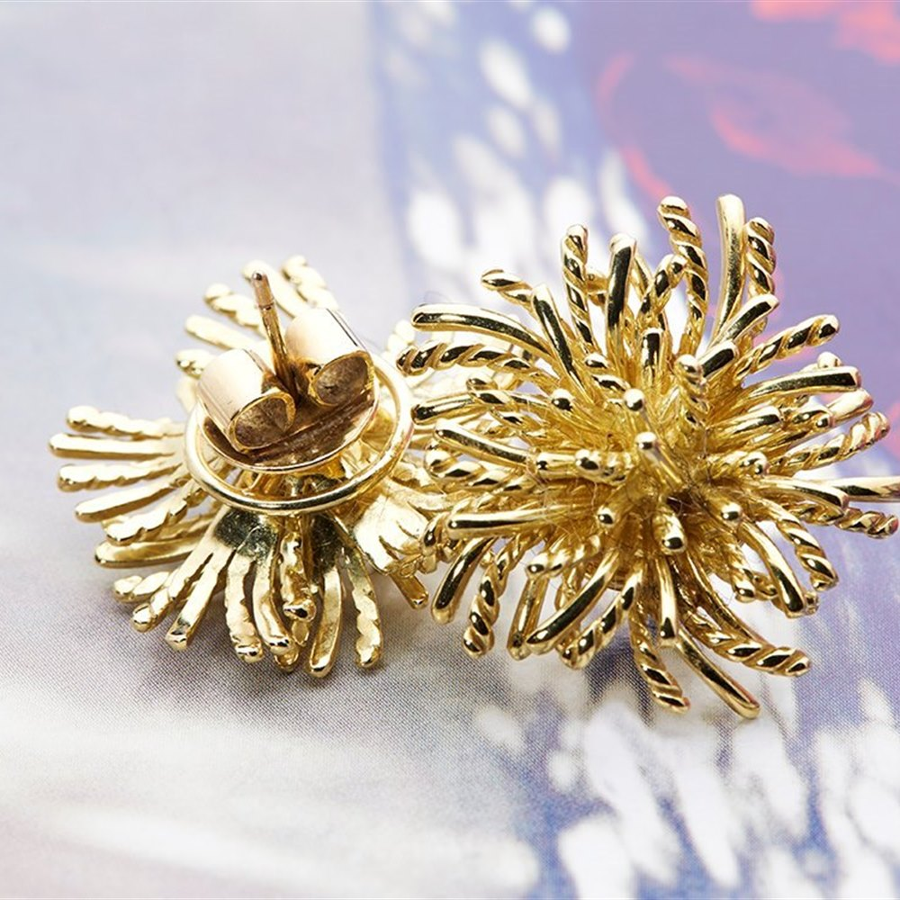 18k Yellow Gold  18k Yellow Gold Sea Urchin Earrings