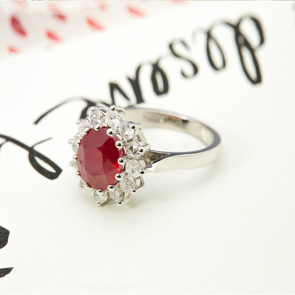 18k White Gold 18k White Gold 4.18ct Ruby & 1.00ct Diamond Ring