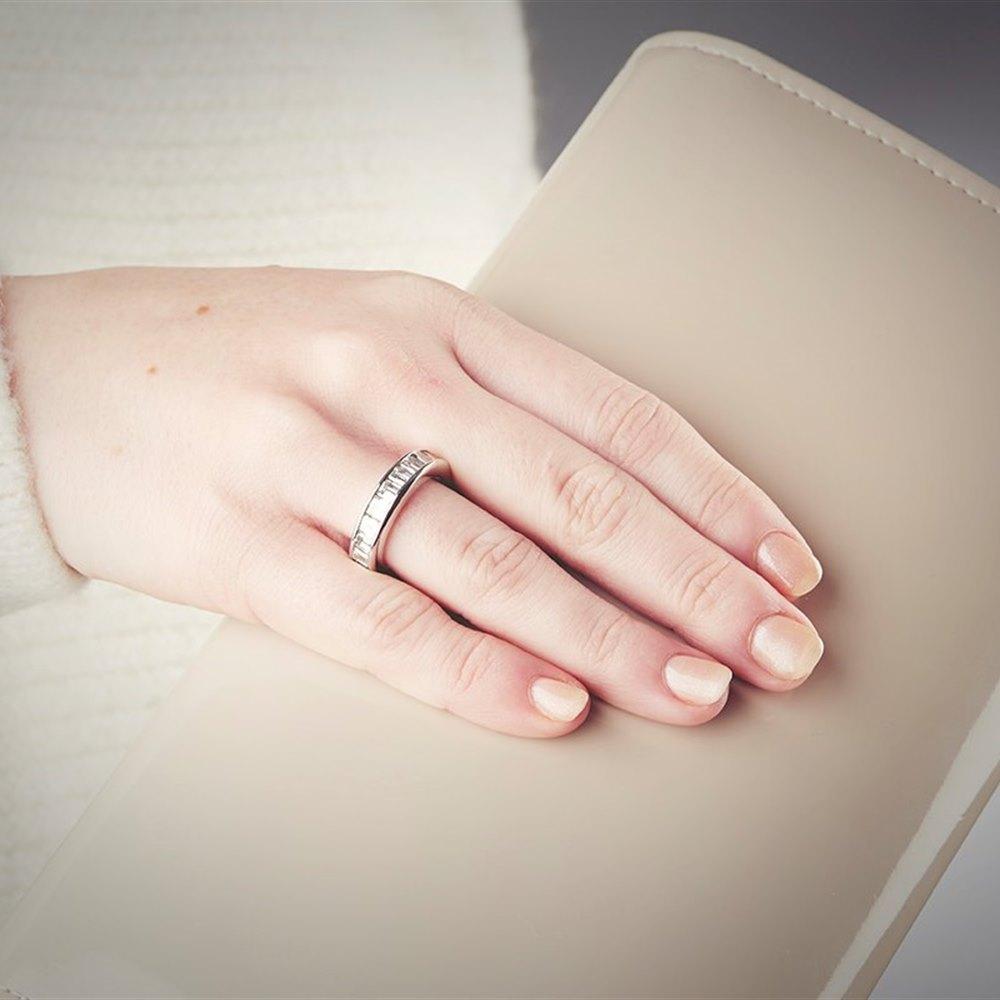 Platinum  Platinum 6.70cts Baguette and Emerald Cut Diamond Full Eternity Ring