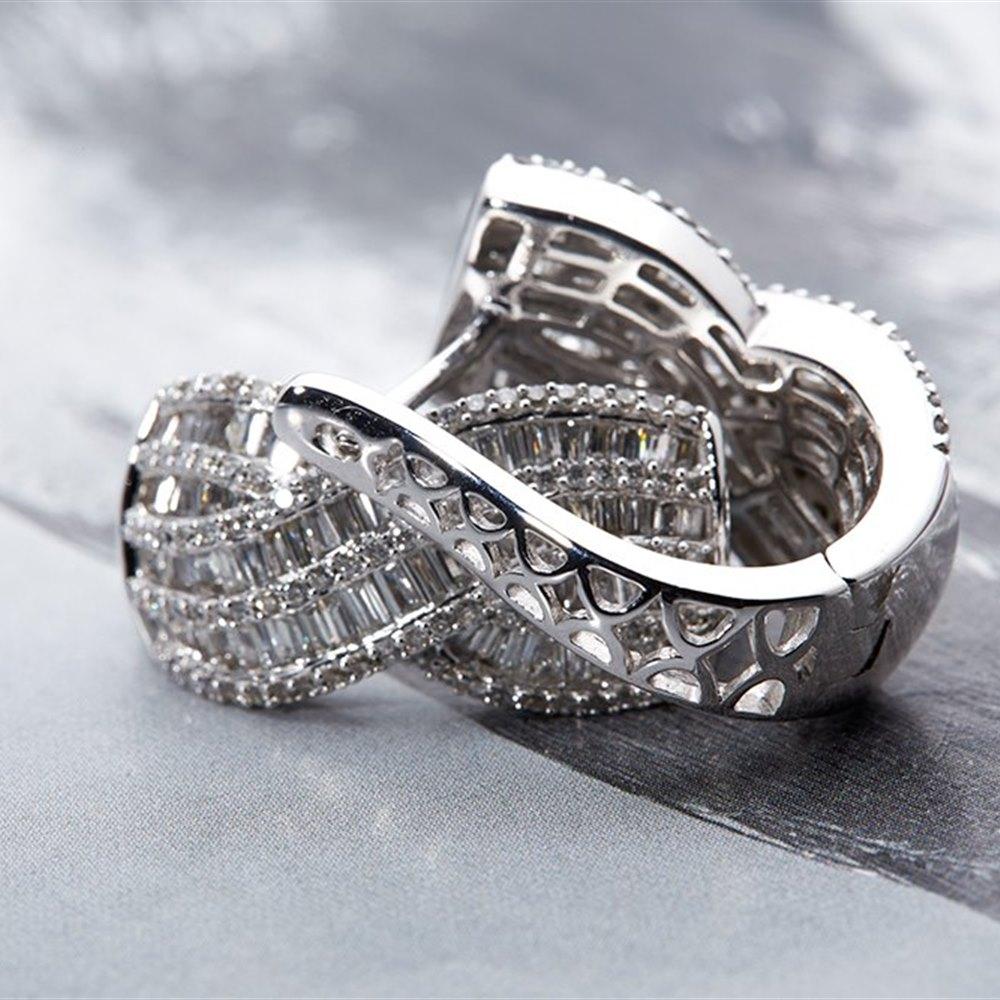 14k White Gold - 11.30 grams 14K White Gold 4.15cts Diamond Cluster Earrings
