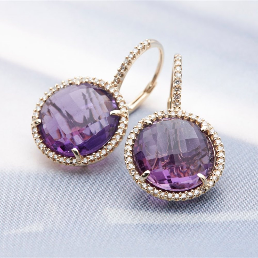 14K Yellow Gold 7.35cts Amethyst & Diamond Drop Earrings