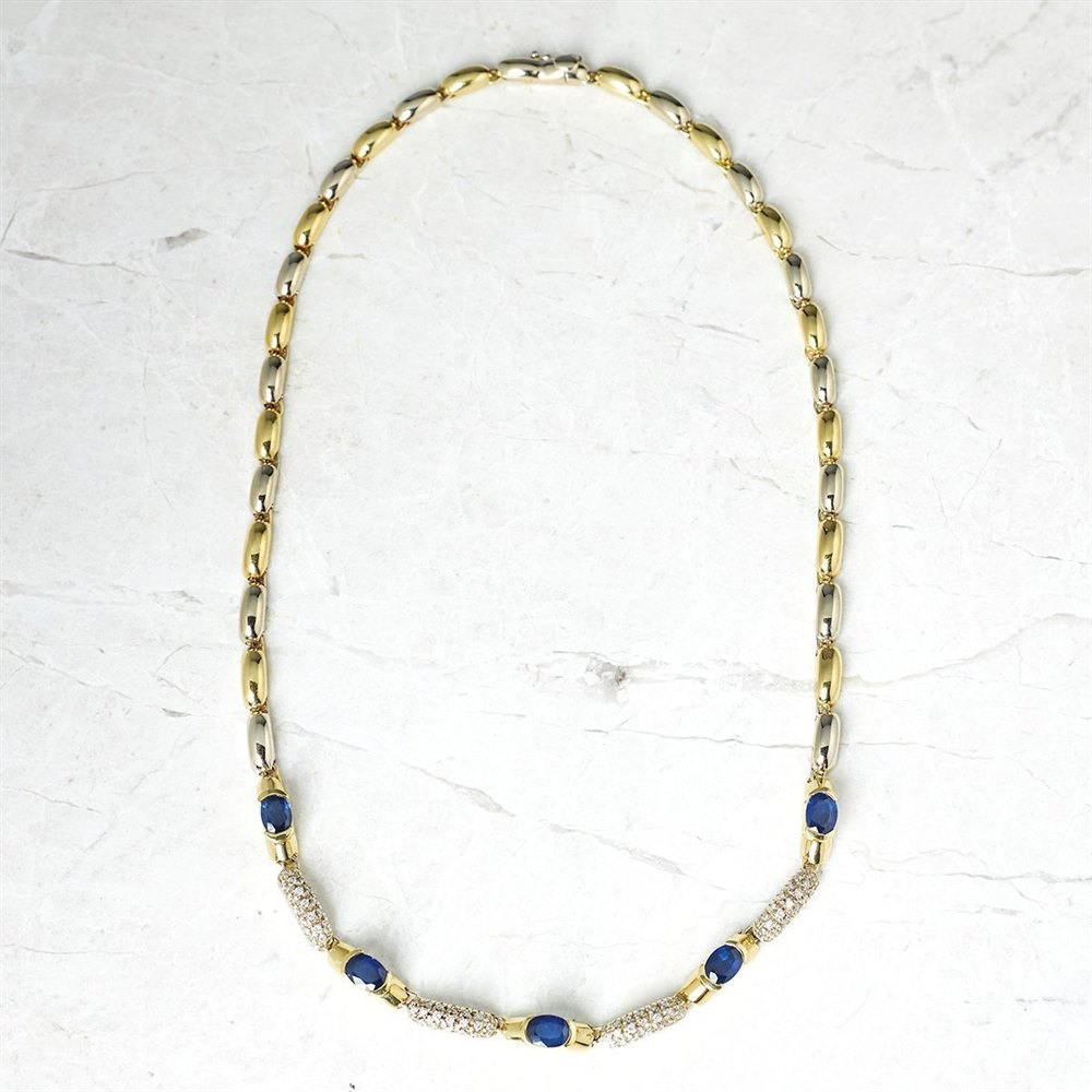 18k Yellow & White Gold - total weight 87.58 grams 18k Yellow & White Gold 12.48ct Sapphire & 1.24ct Diamond Necklace, Bracelet & Earrings Suite