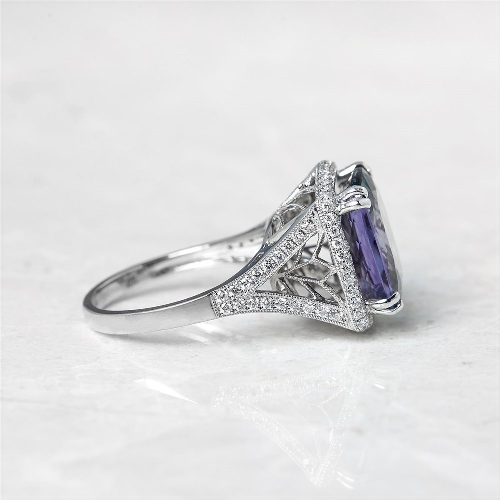 18k White Gold, total weight - 7.89 grams  18k White Gold 8.62ct Tanzanite & 0.96ct Diamond Ring
