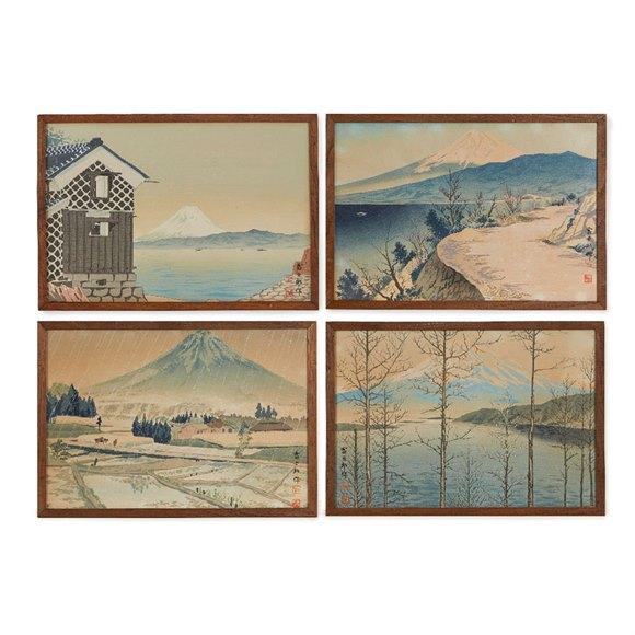 5 x Japanese Woodblock Prints Mt Fugi Tomikichiro Tokuriki