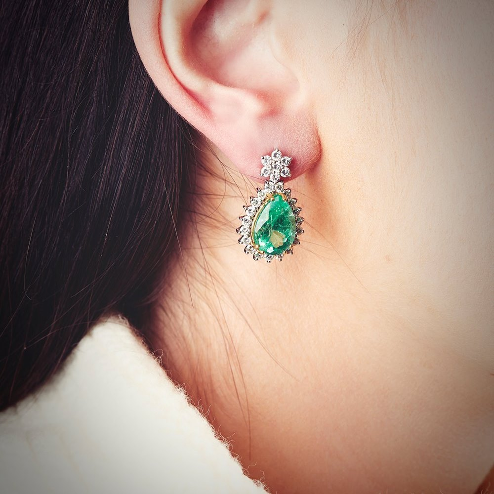18k White Gold (each 6 claw setting holding Emerald is made from 18k Yellow Gold)  18k White Gold 9.00ct Colombian Emerald & 2.60ct Diamond Earrings