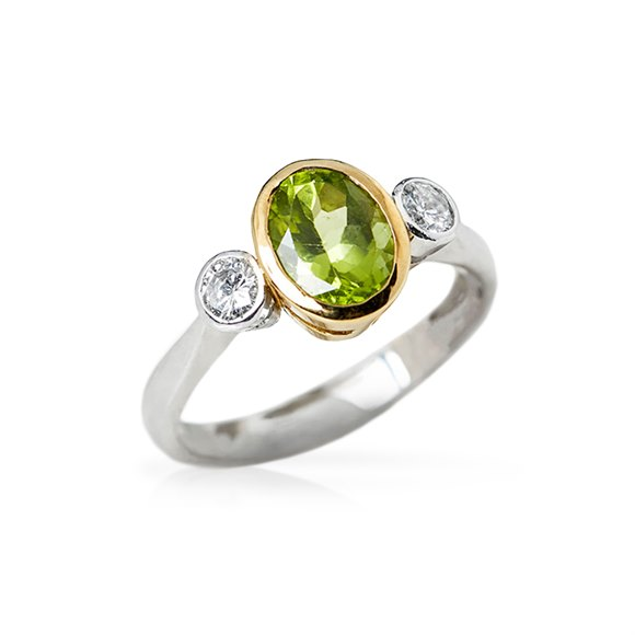 18k White & Yellow Gold Peridot & Diamond Ring