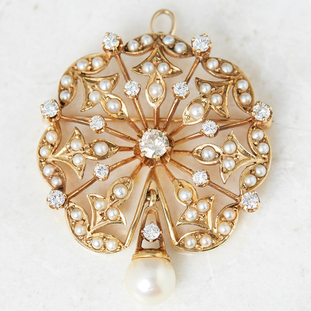 K. Goldschmidt 14k Yellow Gold Pearl & 1.05ct Diamond Brooch