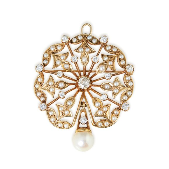 K. Goldschmidt 14k Yellow Gold Pearl & 1.05ct Diamond Brooch