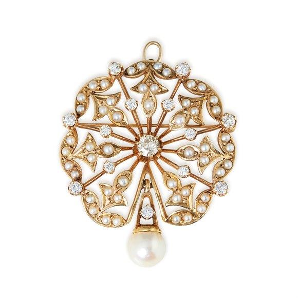 K. Goldschmidt 14k Yellow Gold Pearl & Diamond Vintage Spray Brooch