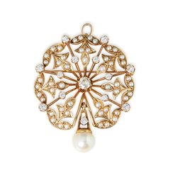 K. Goldschmidt 14k Yellow Gold Pearl & Diamond Vintage Spray Brooch