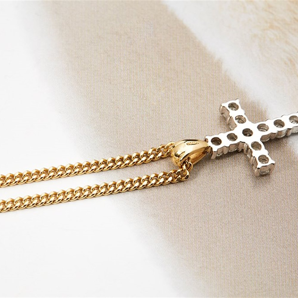 Tiffany & Co. 18K White Gold 1.50cts VS G Diamond Cross Pendant on 18K Yellow Gold Chain