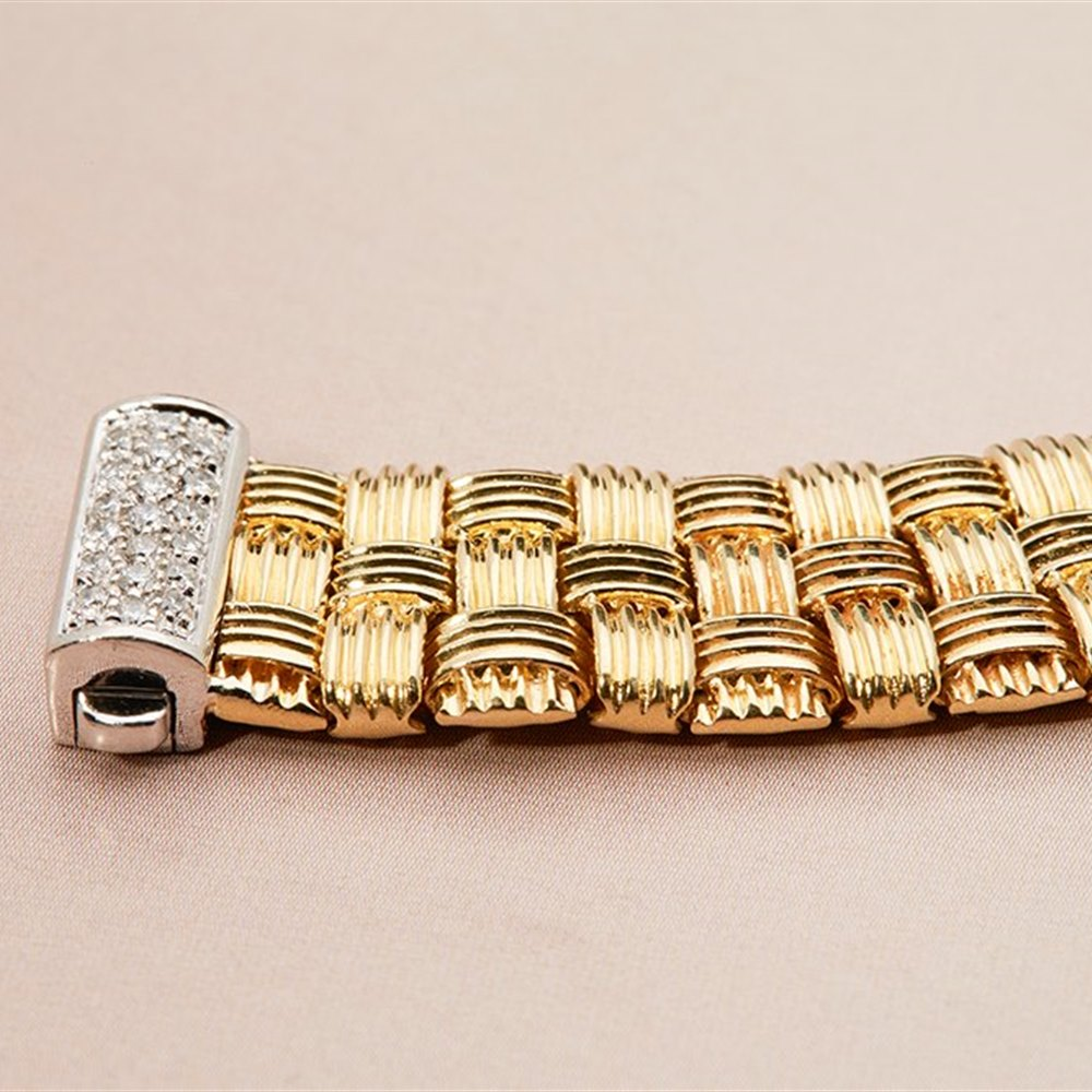 Roberto Coin 18K Woven Yellow Gold Bracelet with 18K White Gold Diamond Clasp