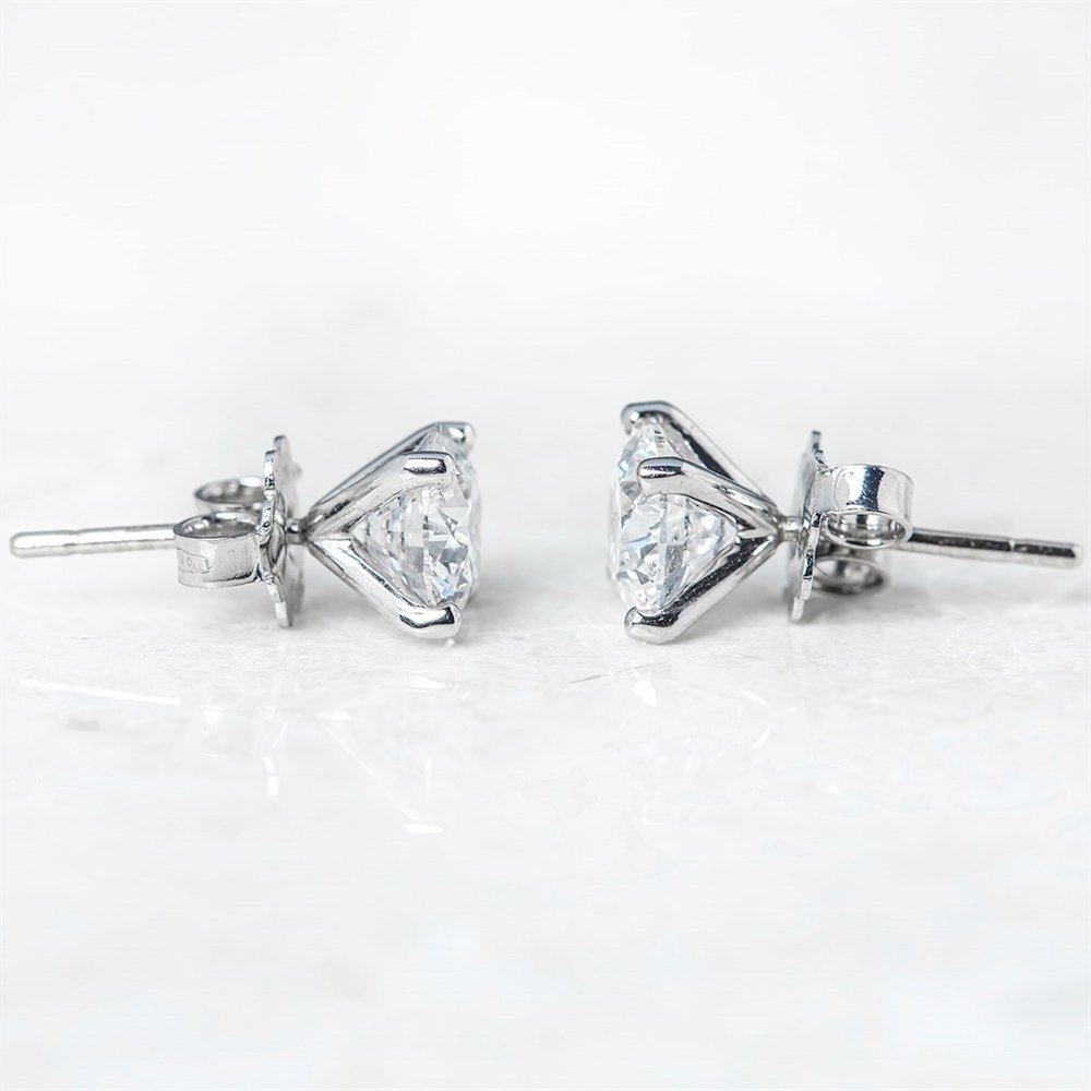 18k White Gold 18k White Gold Round Brilliant Cut 3.05ct Diamond Stud Earrings