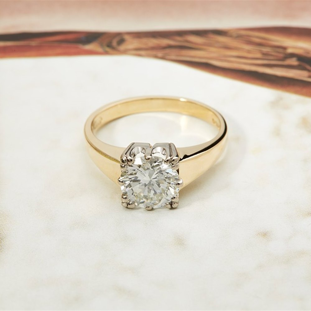 18k Yellow Gold & White Gold 18K Yellow and White Gold VS1-VS2 G/H 1.98cts Round Brilliant Diamond Solitaire Ring