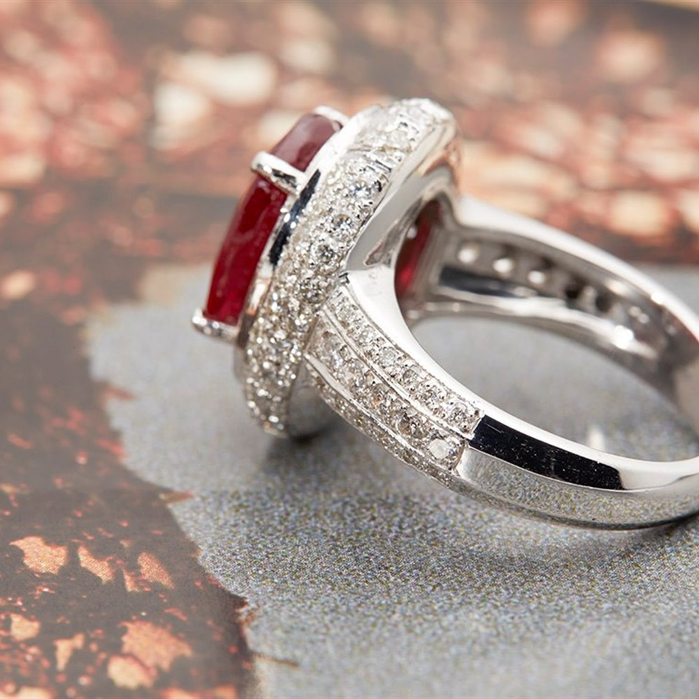 Platinum Platinum 6.55cts Oval Ruby & Diamond Ring