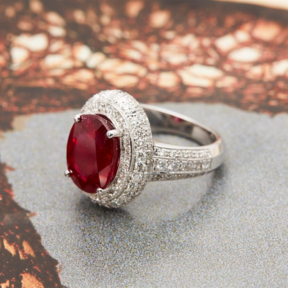 Platinum 6.55cts Oval Ruby & Diamond Ring