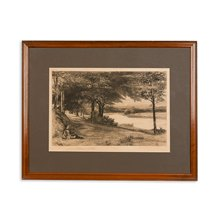 Pair Of Signed Francis S. Walker Etchings 'Ell Island' 1908