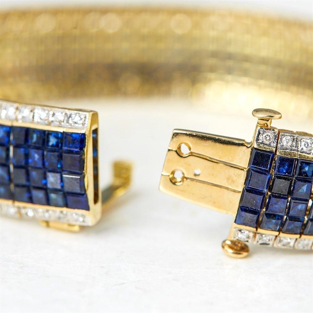 18k Yellow Gold, total weight - 43.07 grams 18k Yellow Gold 30.80ct Sapphire & 1.54ct Diamond Bracelet