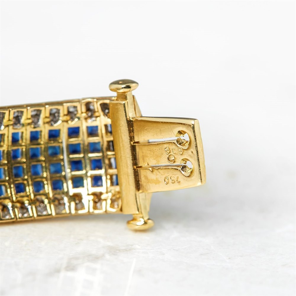 18k Yellow Gold 30.80ct Sapphire & 1.54ct Diamond Bracelet