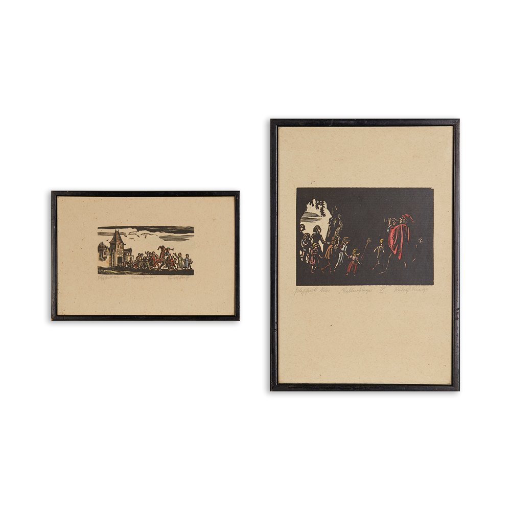 PAIR WOODCUTS BY RUDOLF RIEGE ' RATTENFÄNGER ' 20TH C. Believed 20th c.