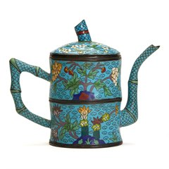 Antique Chinese Bamboo Shaped Cloisonne Lidded Teapot 19/20Th C.
