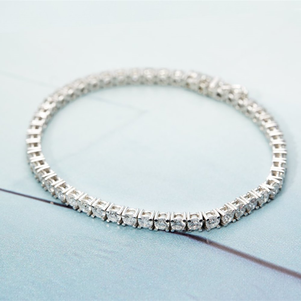 18k White Gold 7.89ct Diamond Tennis Bracelet