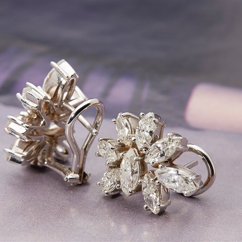 Platinum 1950's Vintage 3.50ct Marquise Cut Diamond Earrings