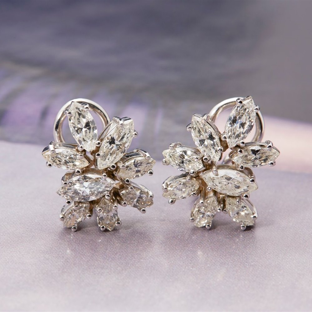 Platinum (earring backs are made in 14k White Gold), total weight - 8.4 grams Platinum 1950's Vintage 3.50ct Marquise Cut Diamond Earrings