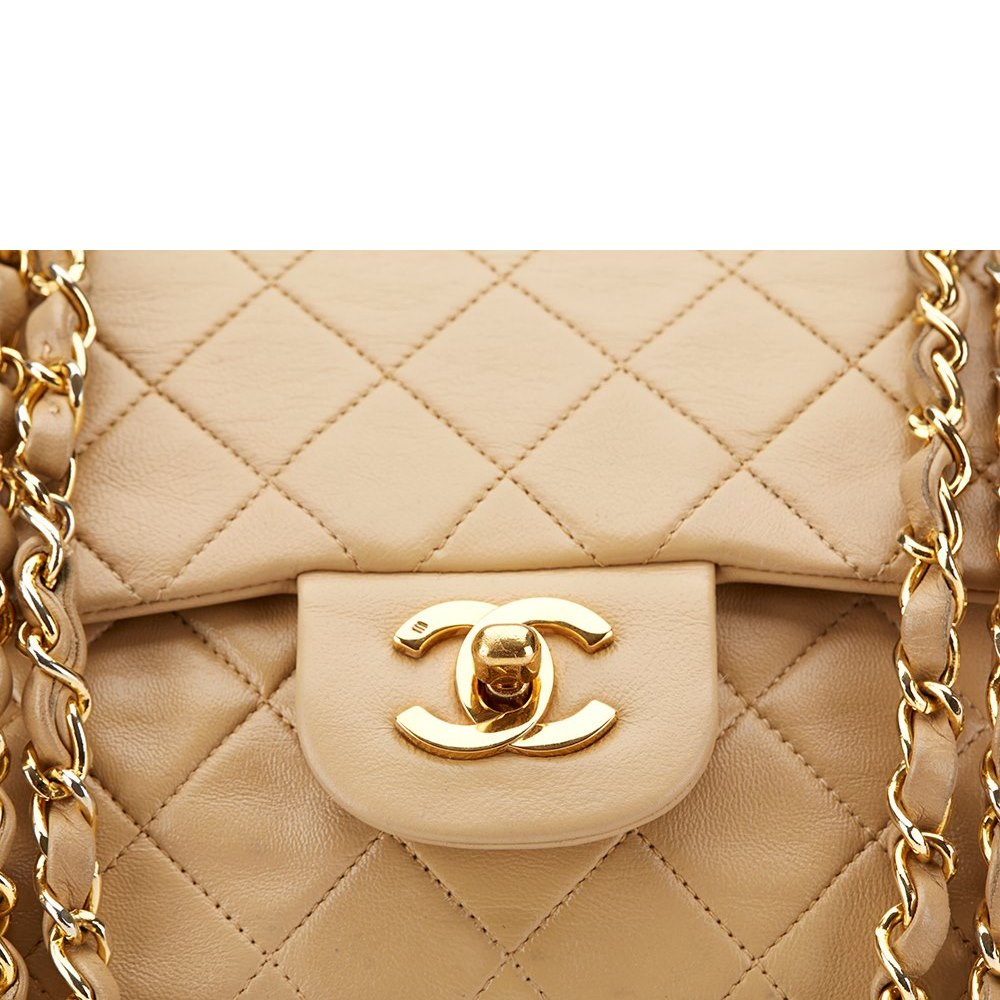 4e1a4c990283c8 Chanel Beige Quilted Lambskin Vintage Small 2.55 Double Flap Bag