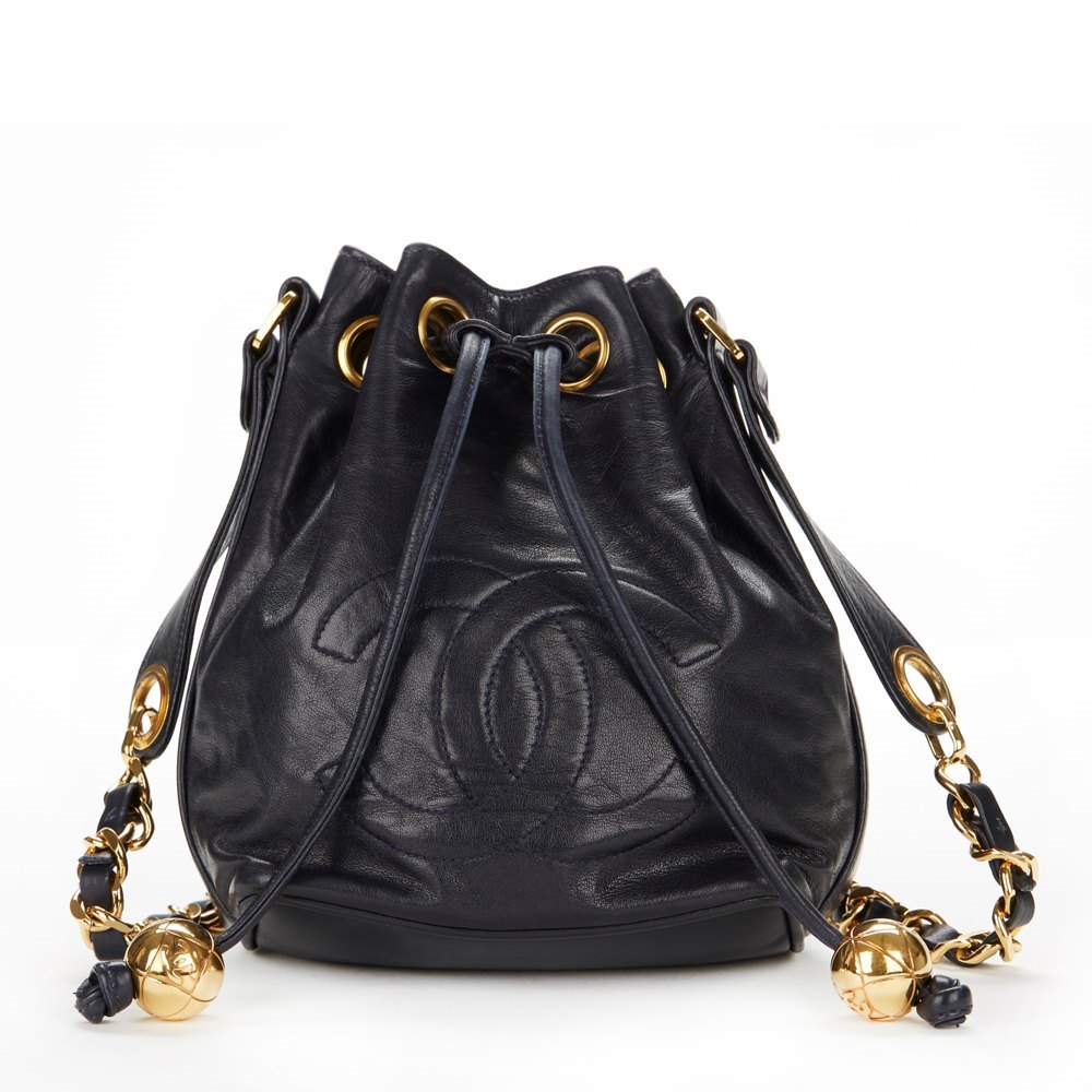 Navy Lambskin Vintage Mini Drawstring Bucket Bag With Pouch