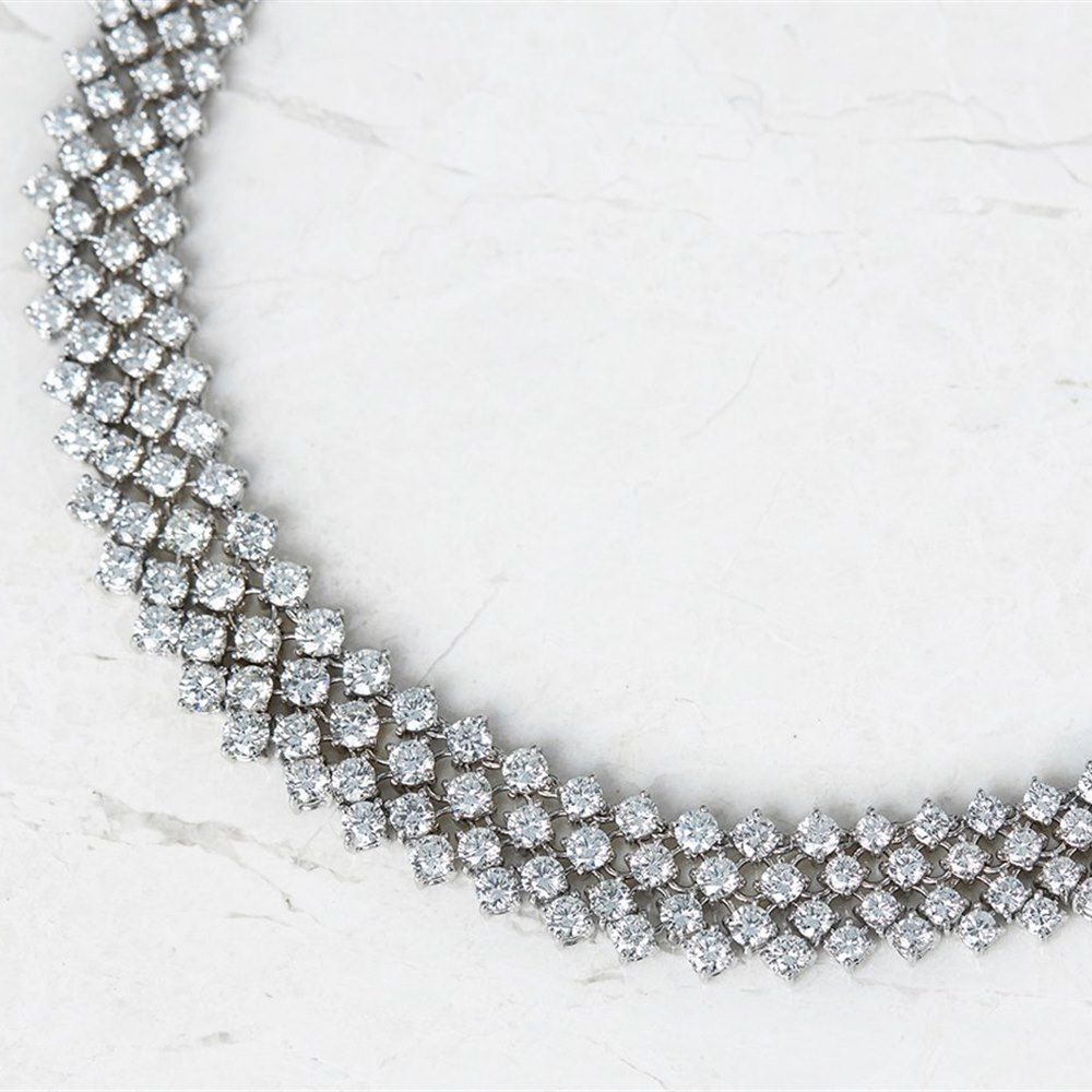 18k White Gold - total weight 67.34 grams  18k White Gold 41.00ct Diamond Mesh Link Necklace