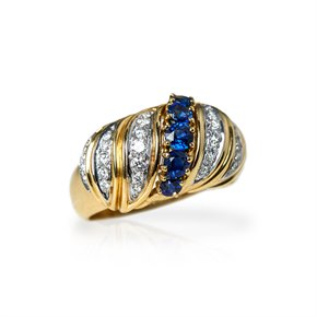 Tiffany & Co. 18k Yellow Gold Sapphire & Diamond Vintage Ring