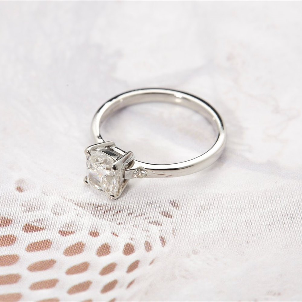Platinum Platinum Cushion Cut 1.30ct Diamond Ring