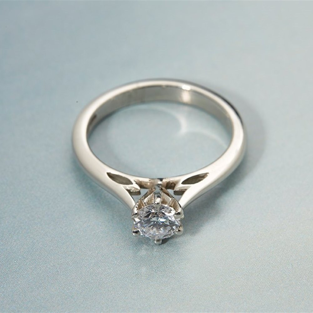 Platinum  Platinum Solitaire 0.54ct Round Brilliant Cut Diamond Ring