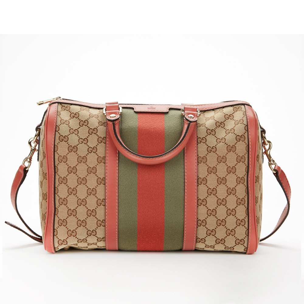 04e203dc35b Gucci Vintage Web Monogram Coral Leather Trim Boston Bag