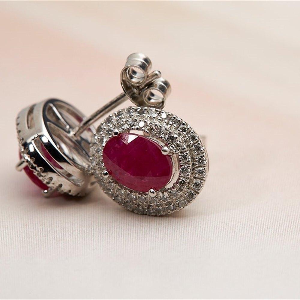 Platinum Platinum 1.94ct Ruby & 0.39ct Diamond Stud Earrings