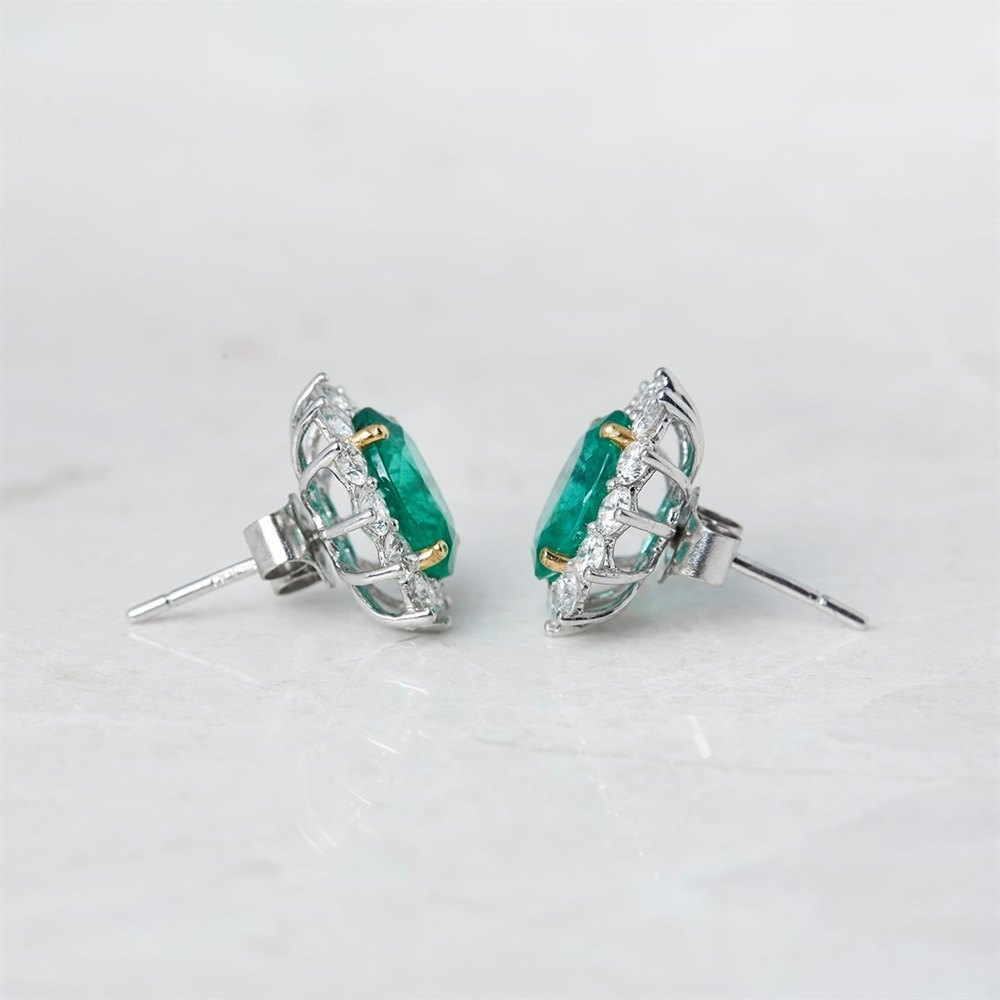 18k White & Yellow Gold, total weight - 3.78 grams 18k White & Yellow Gold 3.75ct Emerald & 1.66ct Diamond Stud Earrings