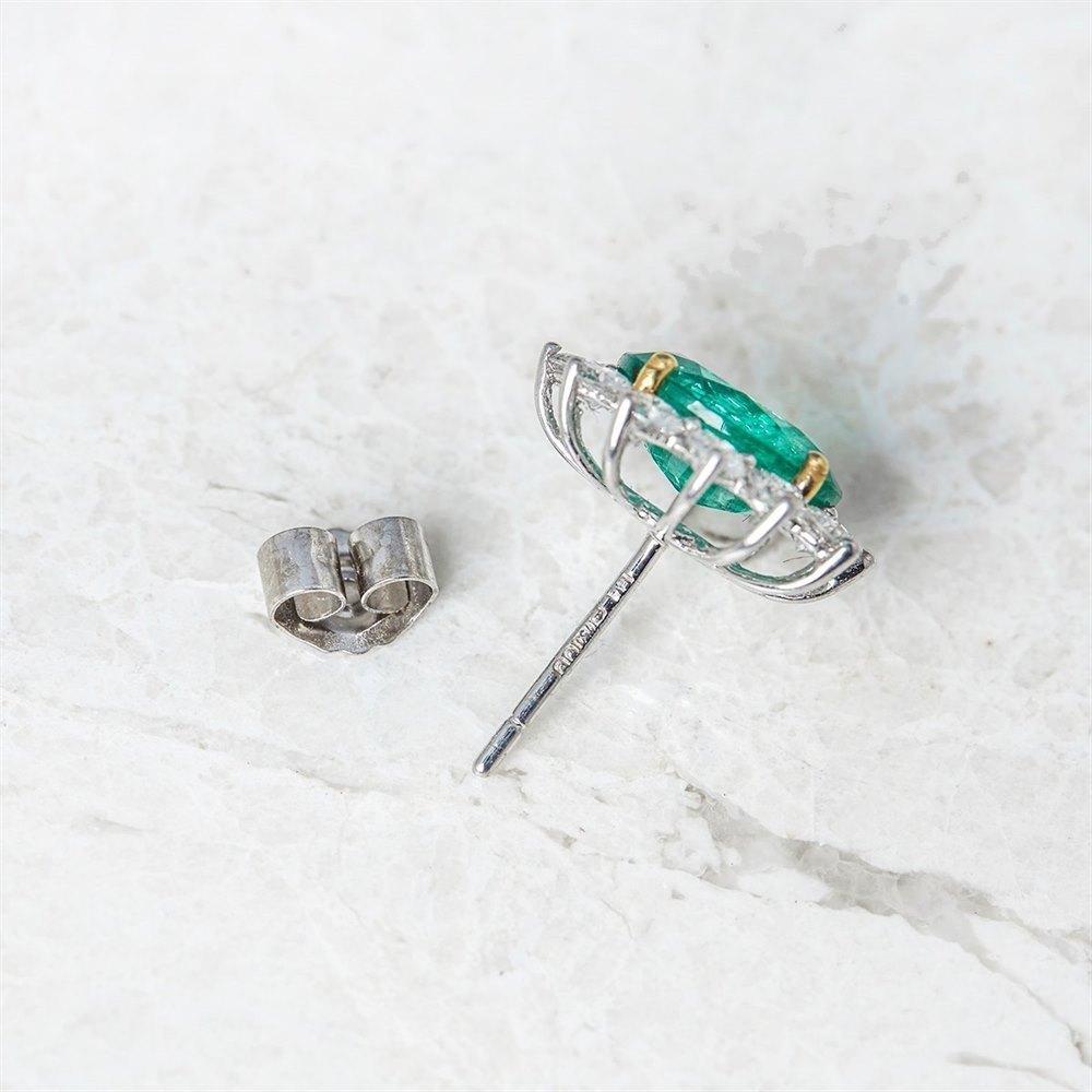 18k White & Yellow Gold, total weight - 3.78 grams  18k White & Yellow Gold 3.75ct Emerald & 1.66ct Diamond Stud Earrings