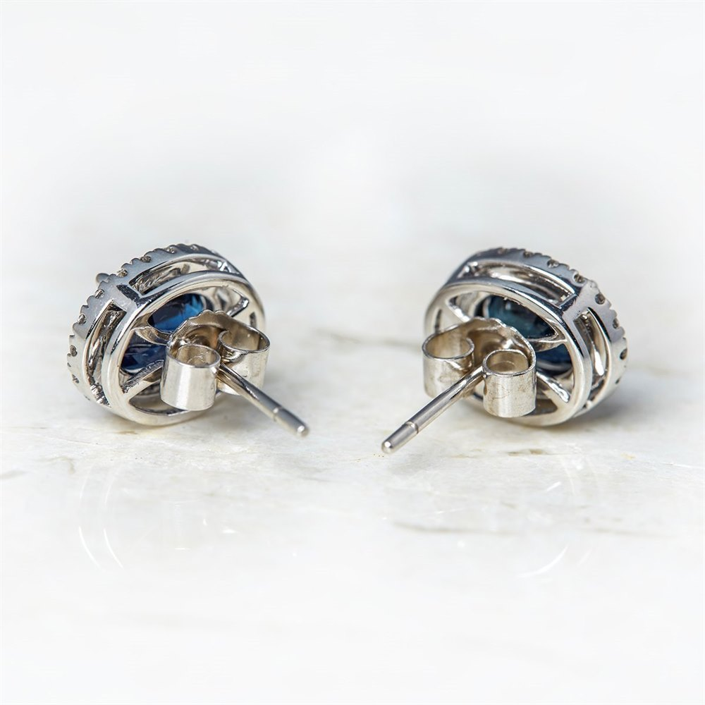 18k White Gold, total weight - 4.57 grams  18k White Gold Oval Cut 3.46ct Sapphire & 0.31ct Diamond Stud Earrings