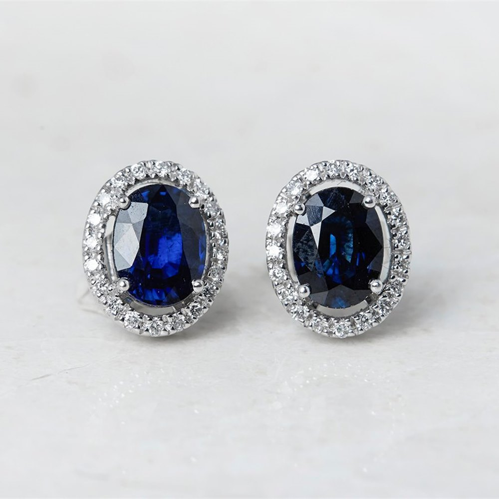 18k White Gold Oval Cut 3.46ct Sapphire & 0.31ct Diamond Stud Earrings